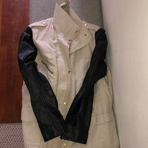 H&M trench with faux leather sleeves
